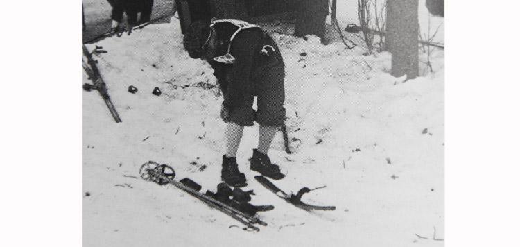 Ouderwetse ski's bij de Engadiner skimarathon