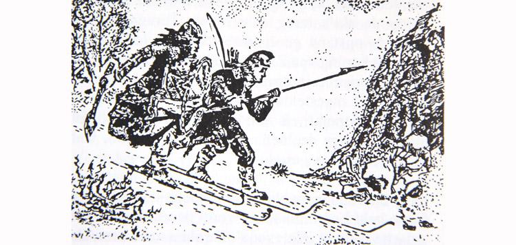 De twee Birkebeiner, die in 1206 het tweejarige prinsje in veiligheid brachten.